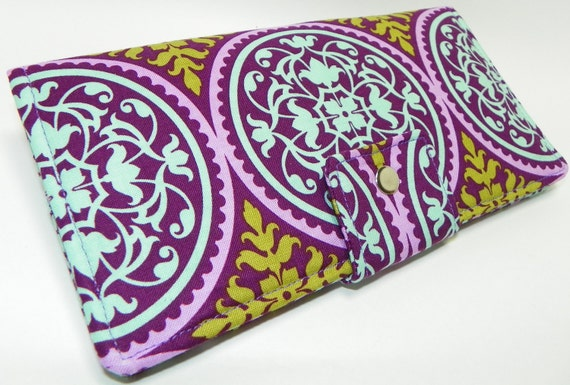 Ironwork in Lilac medallions Handmade Long Wallet  BiFold Clutch