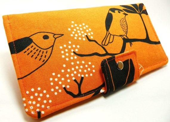 Handmade Long Wallet  BiFold Clutch- Vegan Wallet - Orange GUNILLA ikea fabric