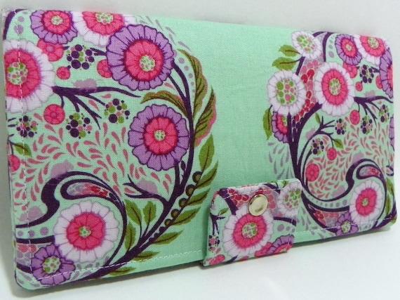 Tula Pink Fabric - Topiary Sky-Handmade Long Wallet BiFold Clutch