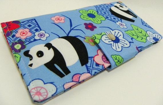 Japaneses pandas in blue - Handmade Long Wallet  BiFold Clutch
