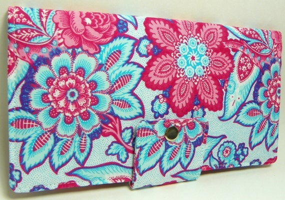 Handmade Long Wallet  BiFold Clutch - Blue Flower