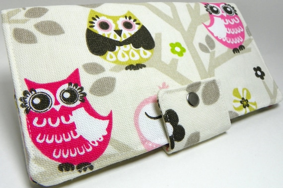 Owls  Sit'n A Tree Handmade Long vegan Wallet  BiFold Clutch