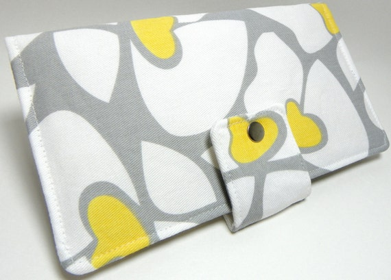 Preorder will ship after Christmas - Handmade Long Wallet  BiFold Clutch Helen Grey and Yellow
