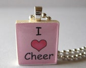I Love Cheer Scrabble Tile Necklace