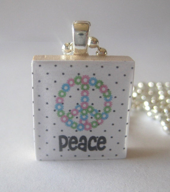 Peace with Lots of Polka Dots Scrabble Tile Necklace