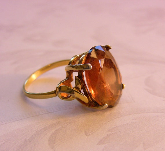 Vintage Amber Topaz Colored Stone Ring signed Sarah Coventry