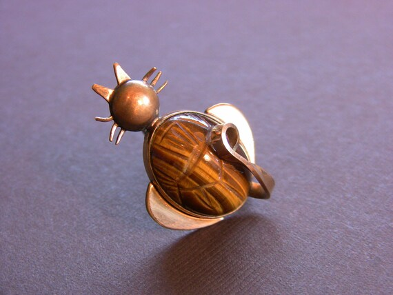 Vintage Scarab Tiger Eye 12kt Gold Filled Cat Kitty Pin Brooch Signed WRE