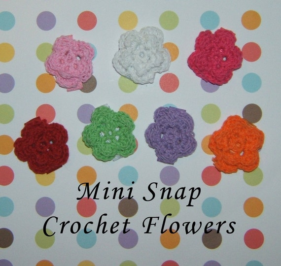 Petite Crochet Flower Baby Snap Clip - White, Pink, Orange, Green, Red, Purple - FLAT RATE SHIPPING