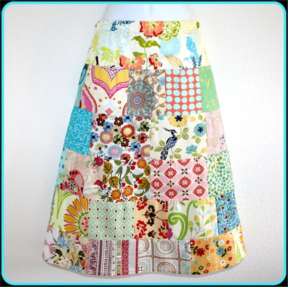 Skirt, Tier, Patchwork, Aline,  27 inches around at Waist stretches to 36 inches, Cotton,