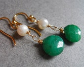 Teeny Greenies Emerald Drops with Pearl Earrings