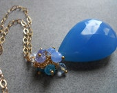 Bright Sunshiny Day Large Cornflower Cluster Drop Necklace : Shirzay Collection