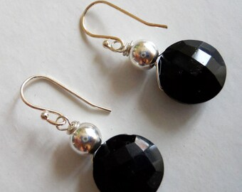 Onyx coin earrings, Black Magic Woman earrings, faceted