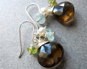 Smoky Quartz, Peridot, Aquamarine and Pearl Trio Earring, peridot earrings, aquamarine earrings, smoky quartz earrings