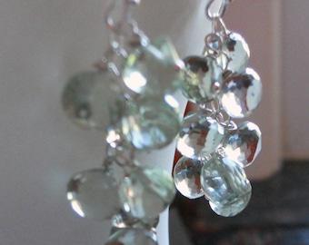 Green Amethyst Earrings, Green Eyed Glamour Girl earrings, Amethyst earrings, Cluster Earrings, Dangle earrings, gift idea, black friday
