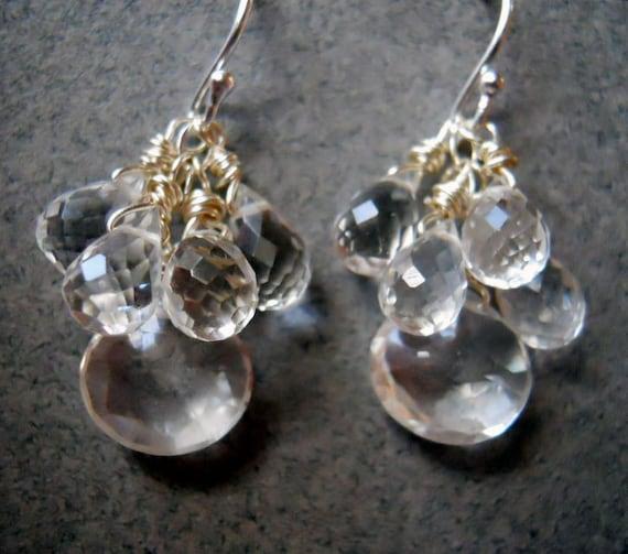 Icicle Earrings, clear earrings, sparkly earrings, teardrop earrings, clear faceted earrings, gemstone earrings