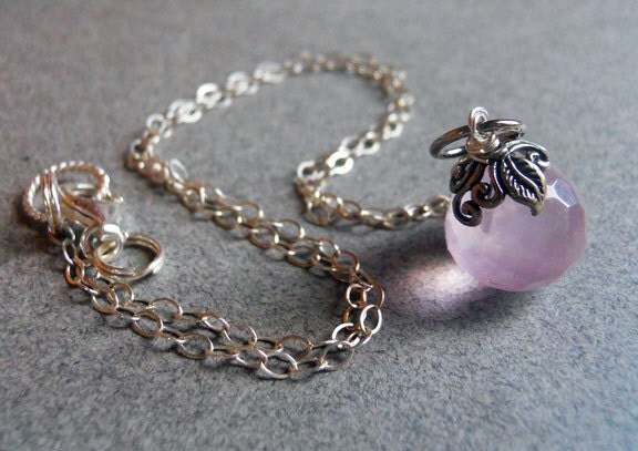 Rose Garden Pink Quartz Leaf Necklace - $55.00 USD