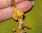 Vintage Gold Poodle Pendant - Pink Rhinestone Eyes / Dog Lover Jewelry
