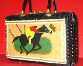 Vintage 50's Wicker Handbag - Racetrack Theme - Off to the Races - Enid Collins Style