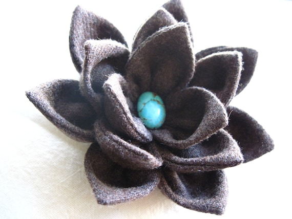 Brown Wool Fabric Flower  with Turquoise Center Hair Clip/head band, Brooch for Bag/Clothing
