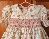 Baby girl hand smocked dress shabby chic roses on ivory Size 12Mo/1T