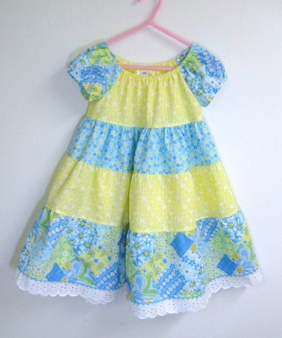 Girl toddler peasant dress blue,yellow,lime patchwork with yellow Size 2T Reduced Price Ready to Ship