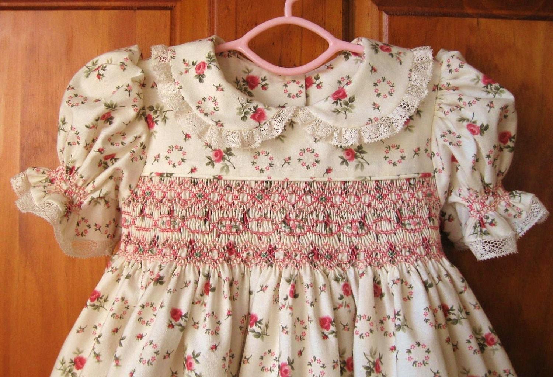 Baby Girl Hand Smocked Dress Shabby Chic Roses On Ivory Size