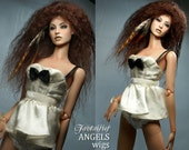 Tibetan Lambswool ANGELS Fantaisie Wig for Ficon Bjd dolls size 4-5 with Grizzly Feather extentions -- Mink
