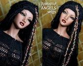 OOAK Black Sari Silk Dredlock Wig for SD Bjd Soom Dollfie Iplehouse Wiggs dolls (Black Sari)  Laurie Lenz ANGELS Fantaisie Wigs