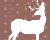 Polka Dot Holiday Deer 5x7 Print