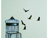 Letting Go Birdcage Watercolor and Ink Illustration 8x10 Print