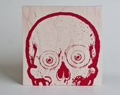 Screen Printed Skull Print - Red