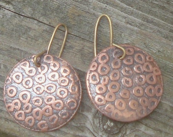 Copper Earrings  Etched