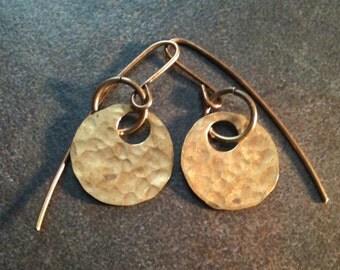 Small Brass Earrings Hammer Texture