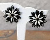 CIJ - Reduced - Black and White Plastic Flower Earrings Mad Men