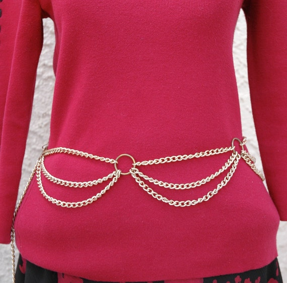 Reduced 25% - Vintage Bohemian Style Gold Tone Chain Belt