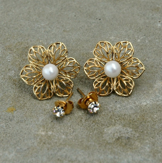 Reserved for Ploy Charoentip - Vintage Filigree Convertible Flower Earrings with Pearl and Rhinestone Studs