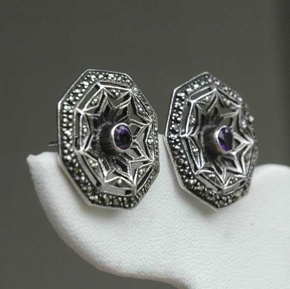 Vintage Sterling Silver Marcasite & Faceted Amethyst Pierced Earrings