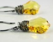 50% OFF CIJ SALE Oxidized Sterling Silver Topaz Crystal Earrings