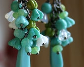 Cluster Earrings with Seafoam Green, Turquoise, Olive, Aqua and White Glass