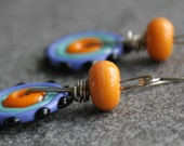 Lampwork Glass Disc Earrings Orange Black Periwinkle Turquoise Sterling Silver - Fiesta