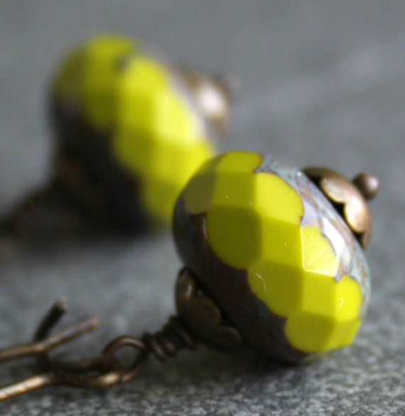 Chartreuse Glass Bead and Antique Brass Earrings Long Bold Modern Simple Casual