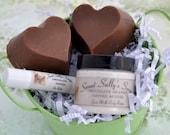 Handmade Organic Soap, Chocolate Heart Shaped Goat Milk Soap Gift Set , Lotion and Lip Balm
