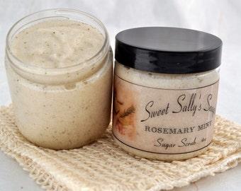 Rosemary Mint Sugar Scrub 4oz ,Emulsified Organic Sugar