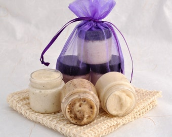 Sugar Scrub Sampler Set, Coffee Butter, Mango Sugar Scrub, Rosemary Mint
