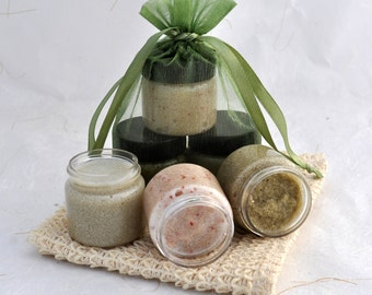 Sugar Scrub Sampler Set, Cranberry, Coconut Lime, Lavender, Gift Set