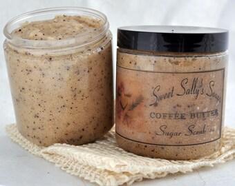 Coffee Butter Sugar Scrub, 8oz Emulsified Organic Sugar