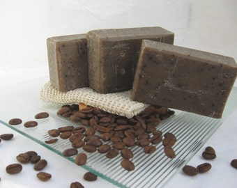 Organic Coffee Soap-Cold Process Soap-Vegan-Natural Skin Care, I Love Coffee Handmade Soap