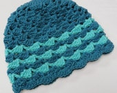 Crochet Hat Winter Fashion in Light Sea Foam and Dark Teal Turquoise with Shell Pattern - OOAK