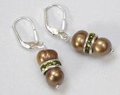 Brown Pearl Earrings with Olive Green Swarovski Rondelles