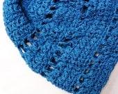 Crochet Hat in Royal Cobalt Blue - OOAK